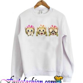 Flower Crown Monkey Emoji Sweatshirt