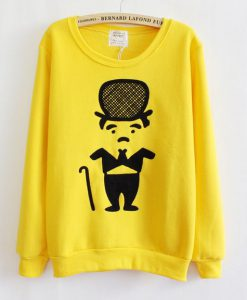 Yellow Thickened Fleece Sweatshirt