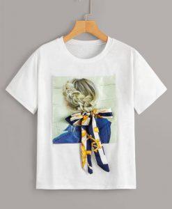 Figure Print Tie Front T-Shirt ZNF08