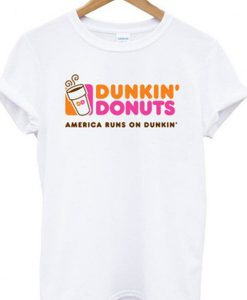 dunkin donuts america runs on dunkin tshirt ZNF08