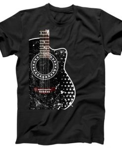 Black Acoustic Guitar Grunge T-Shirt ZNF08