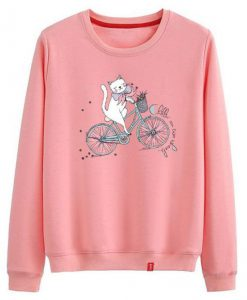Cat Ride A Bike Sweatshirt ZNF08