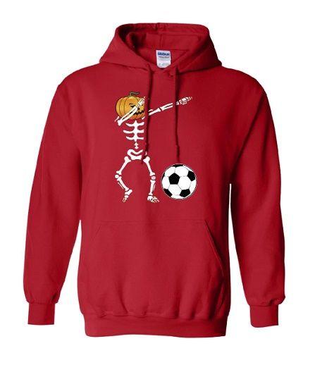 Dabbing Pumpkin Skeleton Soccer Hoodie ZNF08